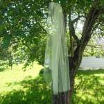 Sheer fingertip traditional style weding veil