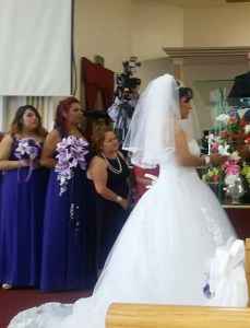 Full short veil matches ball gown dress