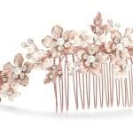 Rose Gold tiara comb ivory pearls