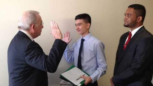 Chuck Perl high fives VEI CEO