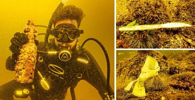Mergulhador mostra resíduo plástico