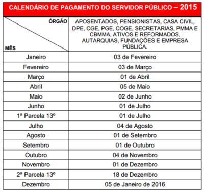 Tabela de pagamento dos servidores do Maranhão 2015
