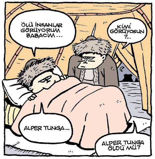 Alp Er Tunga Öldü mü? karikatür