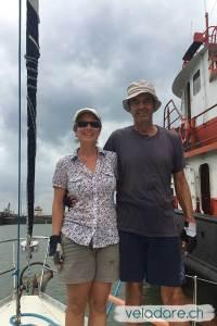 """Nous deux en tant que Handliner sur le voilier """"Le Pukeko"""""""