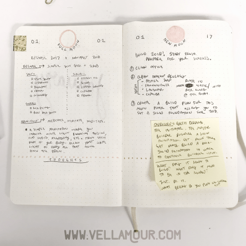 My moon phase ritual breakdowns in my bullet journal x book of shadows
