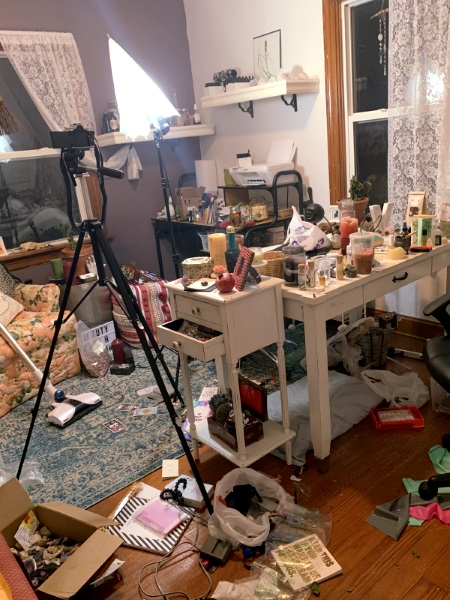 Before I cleaned my witchy room. It was a mess. How to Create a Sacred Space