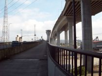 bike path over West Seattle low bridge with high bridge above