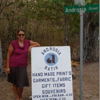 Amelia makes Androsia in Andros Town