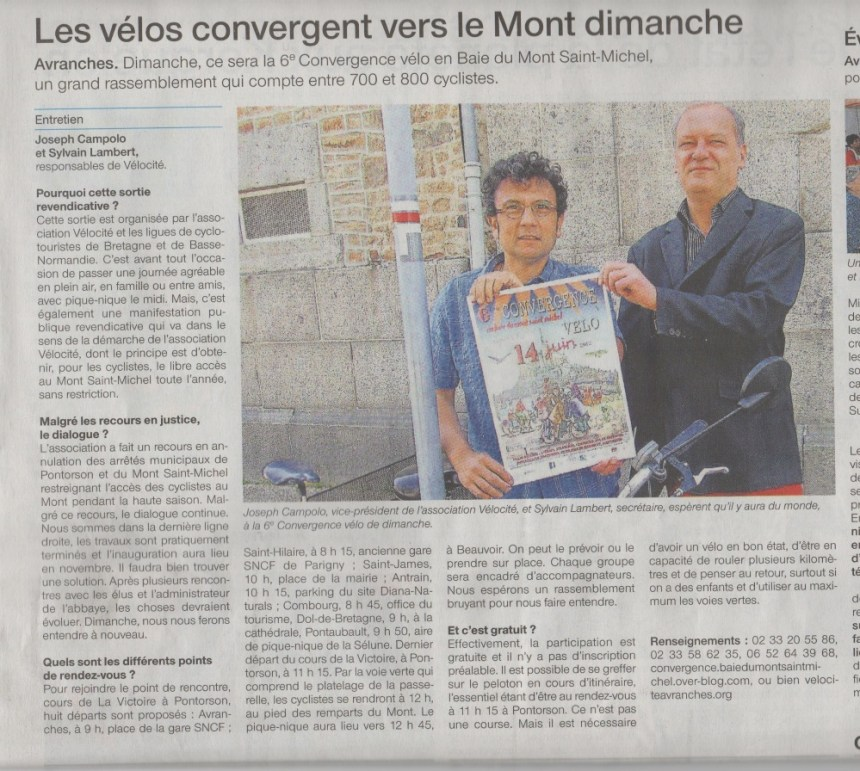 Ouest France du jeudi 11 juin 2015