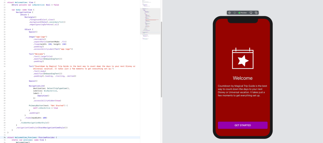 A screenshot of a SwiftUI preview in Xcode