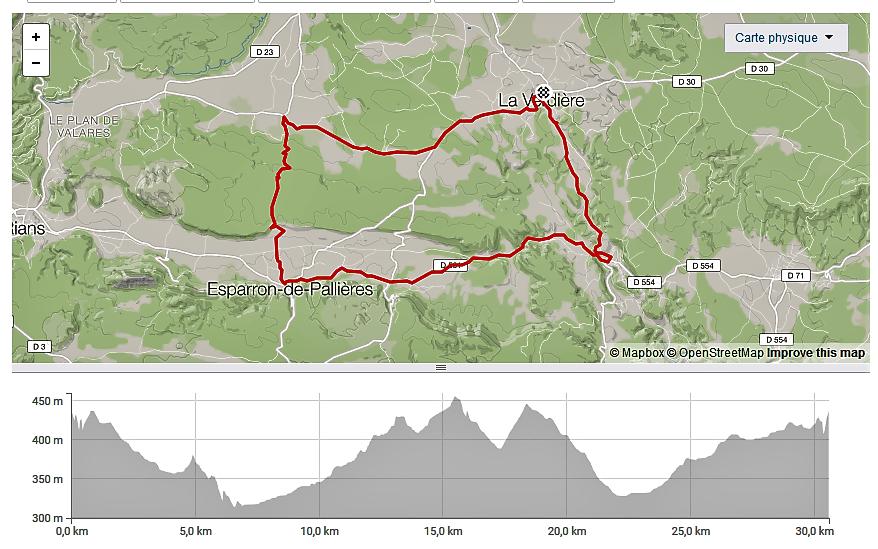 Boucle de 30 Km au départ de La Verdière