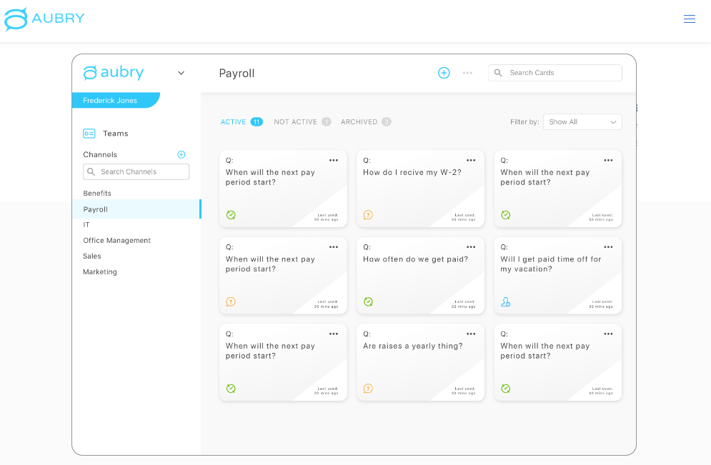 Aubry AI dashboard