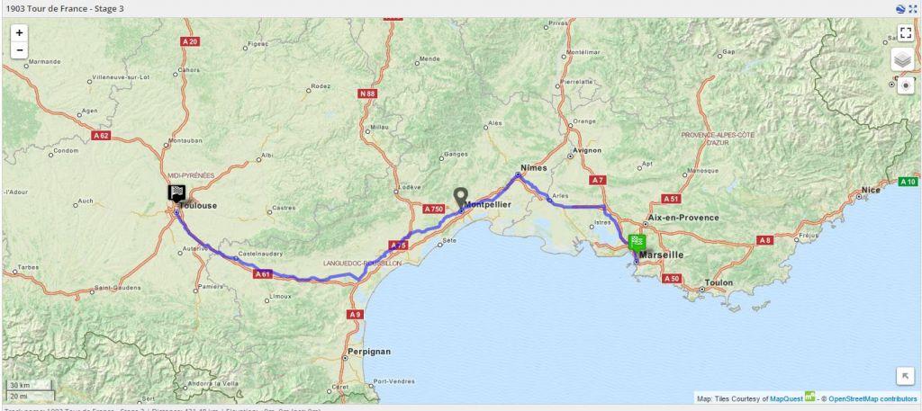 1903 Tour de France - Stage 3 Map