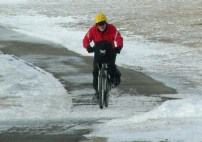 Calgary AB, Winter Cyclist, 26th Ave Bike Path ©Photograph by H-JEH Becker, 2012
