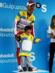 Yellow jerseys all round stage 4 winner Joaquim Rodriguez and son (image courtesy of Susi Goertze)