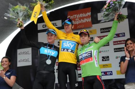 Criterium du Dauphine final podium l to r Rogers, Wiggins, evans (image courtesy of official race website)