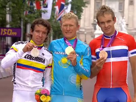 Olympic Podium l to r Uran, Vinokourov, Kristoff (image courtesy of Mikkel Conde)