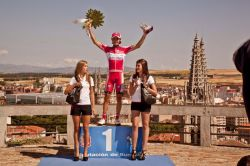 Stage 2 winner Moreno against backdrop of Burgos (image courtesy of official race site)