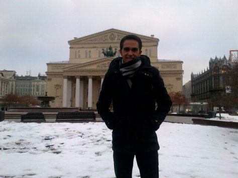 Alberto braving the cold in Moscow (image courtesy of Alberto Contador)