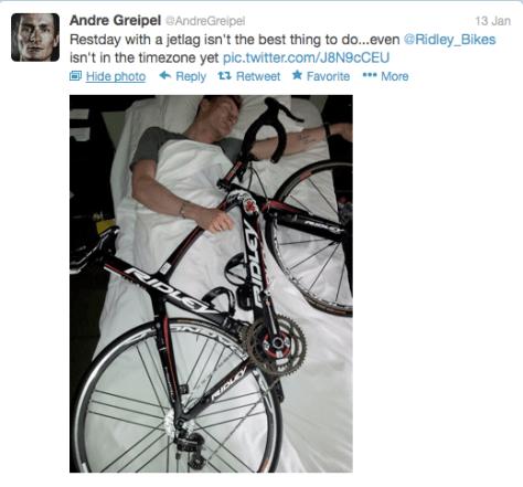 Greipel sleeping with bike