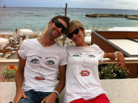G4's designer Geoffroy Lequatre with G4's general manager, Petra both of whom are wearing t-shirts from..............G4