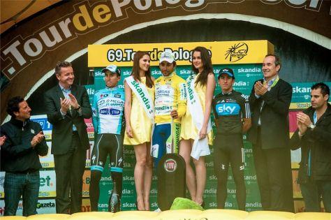 Michal Kwiatkowski, Moreno Moser and Sergio Henao on the final podium (Image: Tour de Pologne)