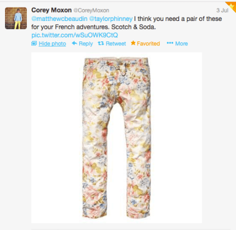 G Taylor flower trousers pic