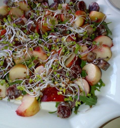 Sheree Classic: peaches and salami salad (image: Sheree)