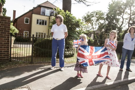 Young supporters of Team GB on the slopes of Surrey