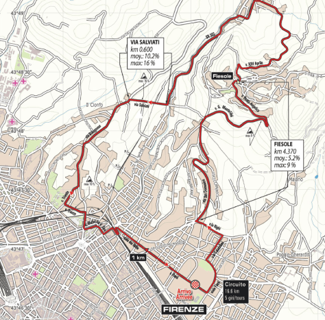 Map of the Florence circuit (image: Toscane 2013)
