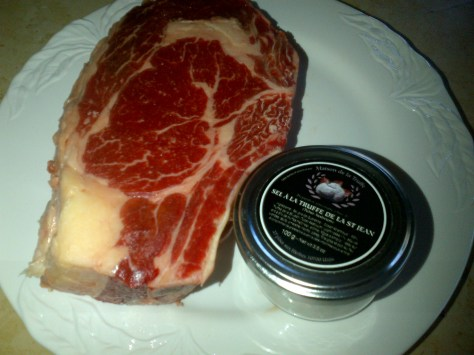 Well hung and marbled beef and a magic touch of truffle flavoured salt (image: Sheree)