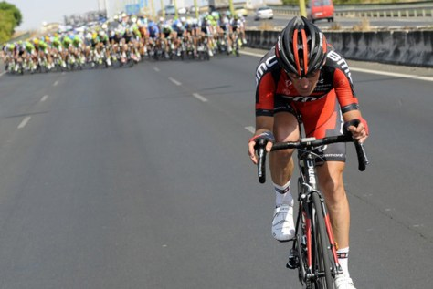 Marco Pinotti being chased down by the Peloton, Vuelta 2013 stage 7 (Image: Vuelta website)