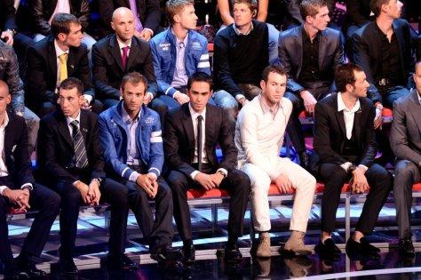 Alberto Contador suitably attired for the presentation of Giro d'Italia 2012 (Image: Giro d'Italia)