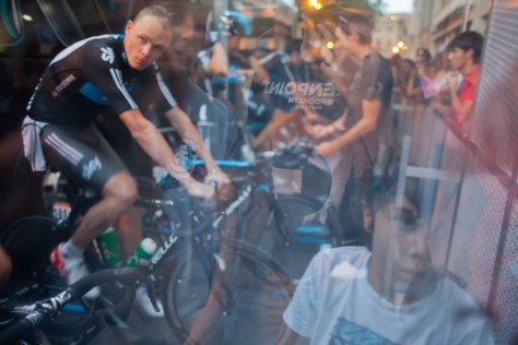Chris Froome warming up at stage 1 Vuelta a Espana 2012