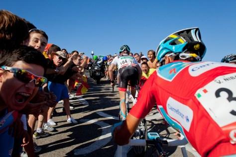 Vincenzo Nibali and Chris Horner at Pena Cabarga stage 18 Vuelta a Espana 2013