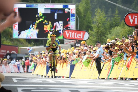 Rafal Majka taking his first professional stage win at the summit finish of Risoul