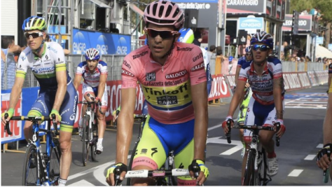 Contador crossing the finish line but wasn't celebrating