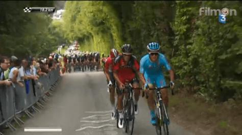 Silvain Dillier (BMC) and Alexey Lutsenko (Astana) powering up the Cote de Ty-Marrac