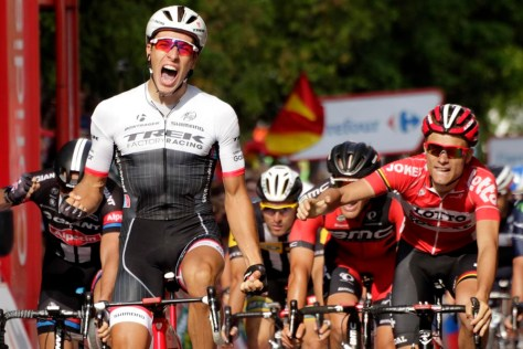 Van Poppel celebrates his maiden grand tour victory (Image: J A Miguelez/Unipublic)