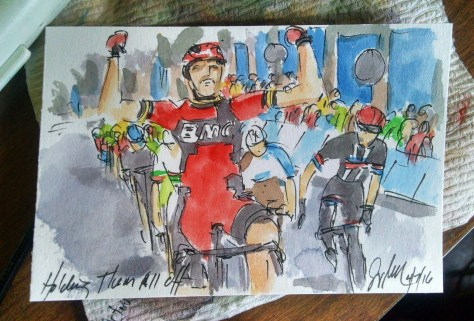 Samu's victory, the paint still wet, captured for me by Greig Leach