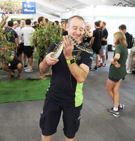 One of the Movistar support staff braves the snake (image: Richard Whatley)