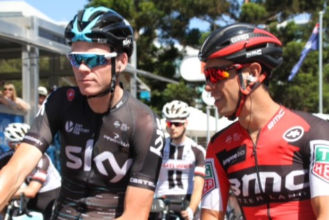 Lennard framed by Messrs Froome and Porte at the start (image: Richard Whatley