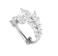"Chopard ring featuring 2.90-carats of marquise-cut diamonds set in 18k white Fairmined gold from the ""Green Carpet Collection"""