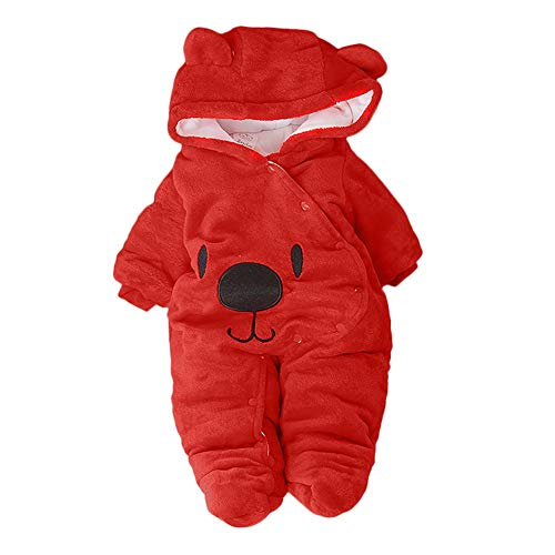ba242a55d XEDUO Newborn Baby Girl Boy Solid Cartoon Bear Velvet Hooded Jumpsuit  Romper Clothes (Red, 9-12 Months)