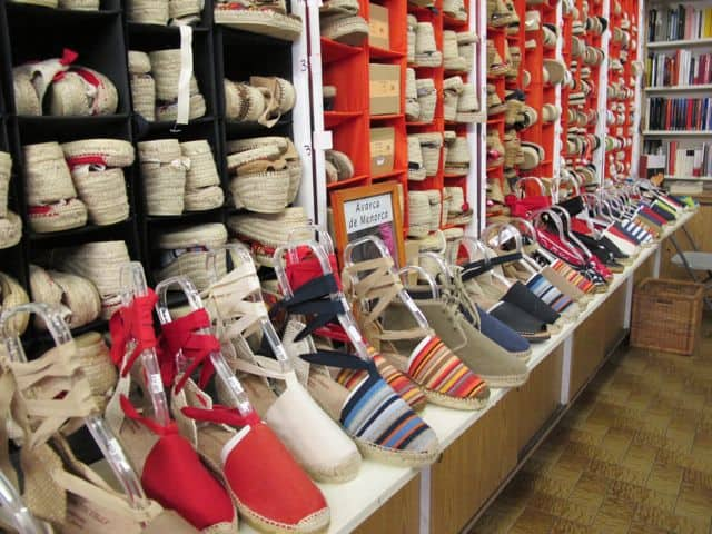 You'll find these colourful shoes at the La Librairie Espagnole shop at 3811 Blvd. St. Laurent.