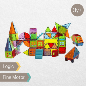 Magna Tiles Metropolis 110 piece set, magnetic tiles available for rental from the Pebbl Playbox Singapore