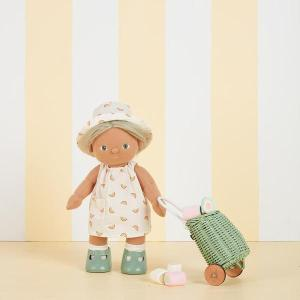 Dinkum Cricket in the Rainbow Una dress se, with doll luggy in mint