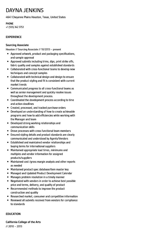Sourcing Associate Resume Sample Velvet Jobs