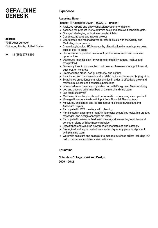Associate Buyer Resume Sample Velvet Jobs