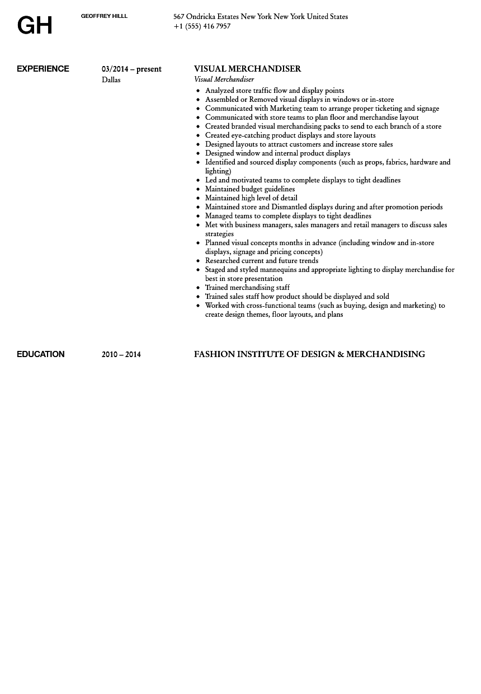 Visual Merchandiser Resume Sample Velvet Jobs